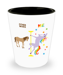 Gift for Wife Funny Anniversary Gifts for Her Christmas Gifts for Women Gay Pride LGBTQ Pole Dancing Unicorn Ceramic Shot Glass