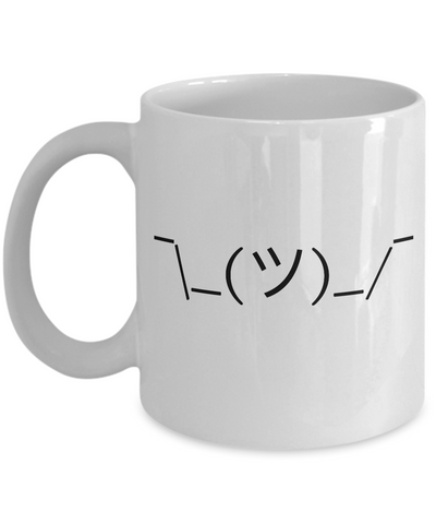 Shrugging Man Emoticon Mug 11 oz. Ceramic Emoji Coffee Cup-Cute But Rude