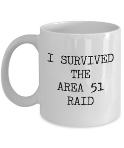 I Survived the Area 51 Raid Mug Funny Alien Coffee Cup