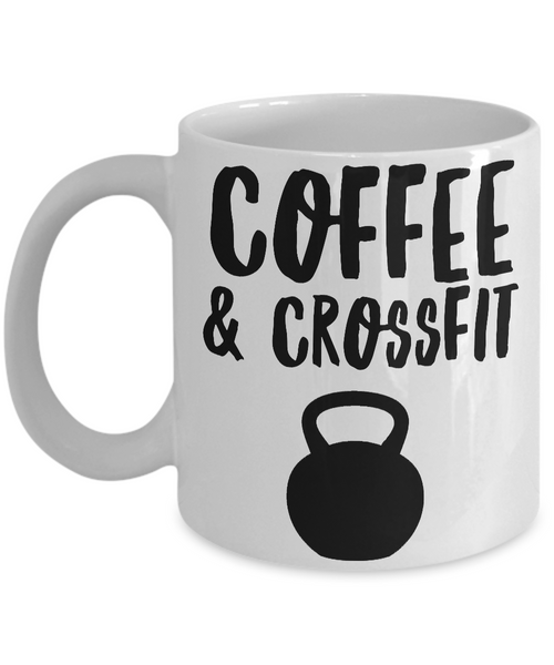 Coffee & Crossfit Mug Kettlebell Ceramic Coffee Cup for Exercise & Fitness Enthusiasts-Cute But Rude
