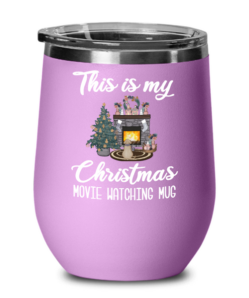 This is My Christmas Movie Watching Mug Wine Tumbler Christmas Travel Coffee Cup Cute Cozy Holiday Mug Winter Gifts for Friends