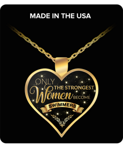 Swimmer Charm Necklace Swimmer Gifts for Women - Only the Strongest Women Become Swimmers Gold Plated Pendant Necklace-HollyWood & Twine