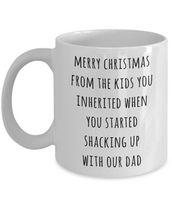 Stepmom Christmas Mug Stepmother Gift for Stepmoms Funny Merry Christmas from the Kids You Inherited When You Started Shacking with Our Dad Coffee Cup