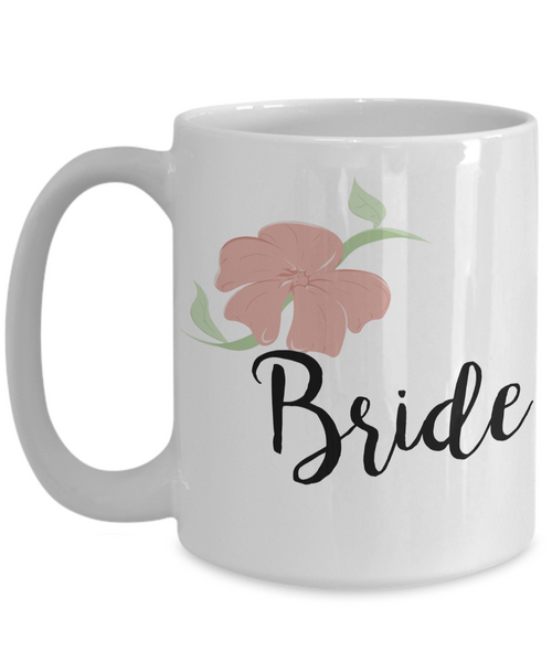 Wedding Mugs - Bride Mug - Bride and Groom Mugs - Flower Coffee Mug