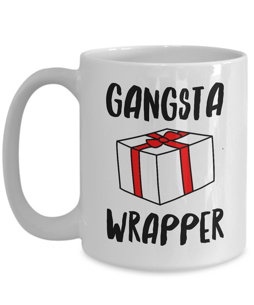 Gangsta Wrapper Christmas Coffee Mug Holiday Ceramic Tea Cup - Funny Christmas Coffee Mugs-Cute But Rude