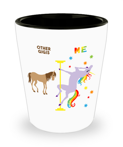 Gigi Gifts for Gigis for Grandma Gift for Grandmother Birthday Present Pole Dancing Unicorn Ceramic Shot Glass