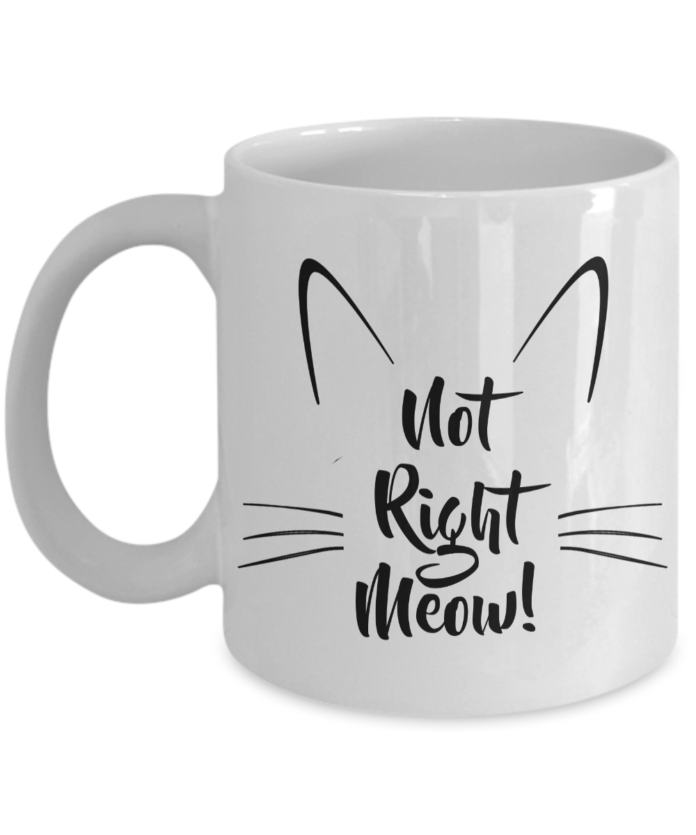 Cat Coffee Mug - Not Right Meow Cat Mug - Cat Person Gifts - Cat Tea Mug - Crazy Cat Lady Gifts-Cute But Rude