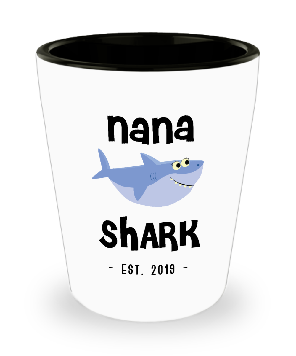 Nana Shark New Nana Est 2019 Do Do Do Expecting Nanas Baby Shower Pregnancy Reveal Announcement Gifts Ceramic Shot Glass