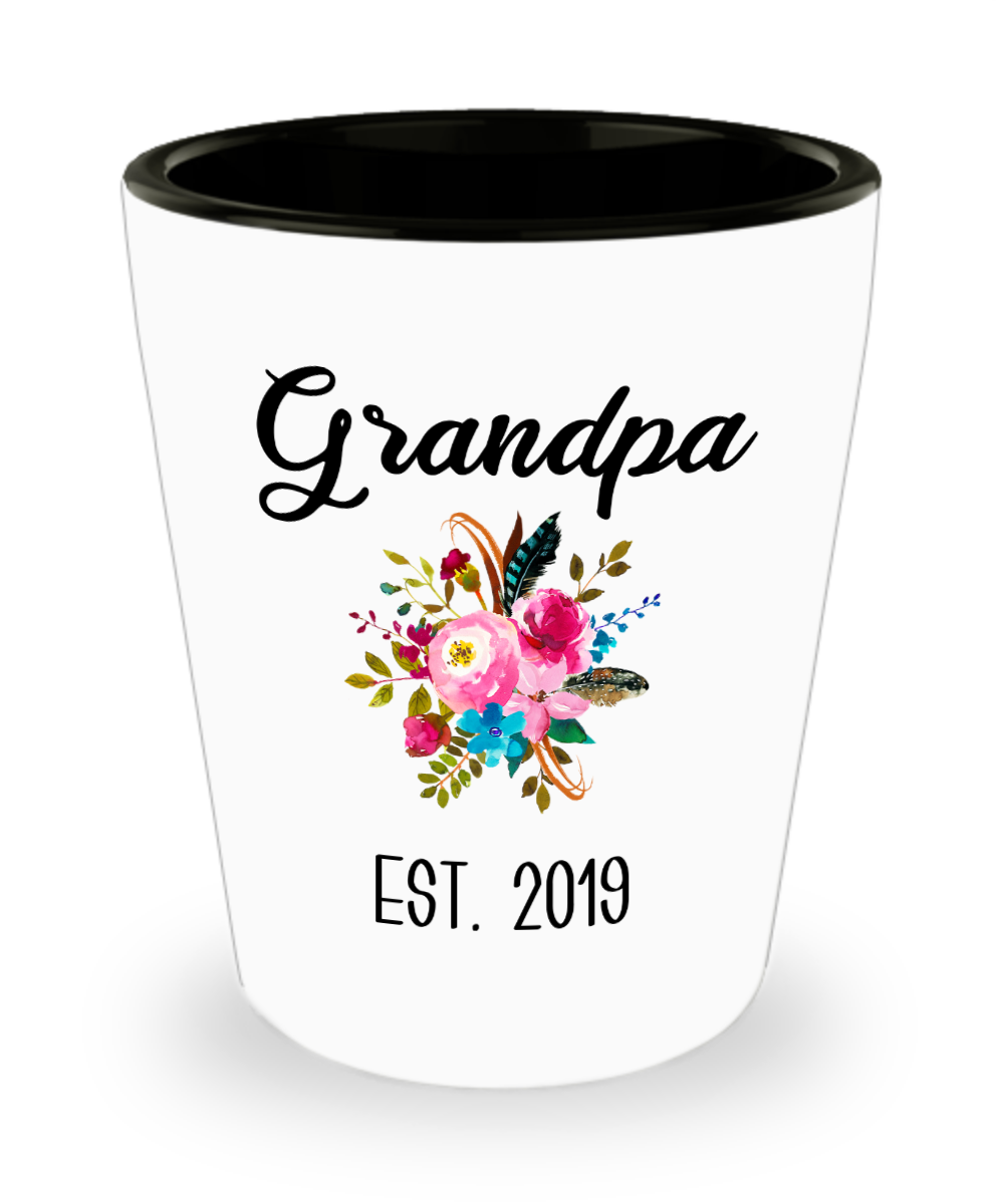 Grandpa to be Gifts for New Grandpas Est 2019 Pregnancy Announcement for Grandparents Reveal to Grandparents Ceramic Shot Glass
