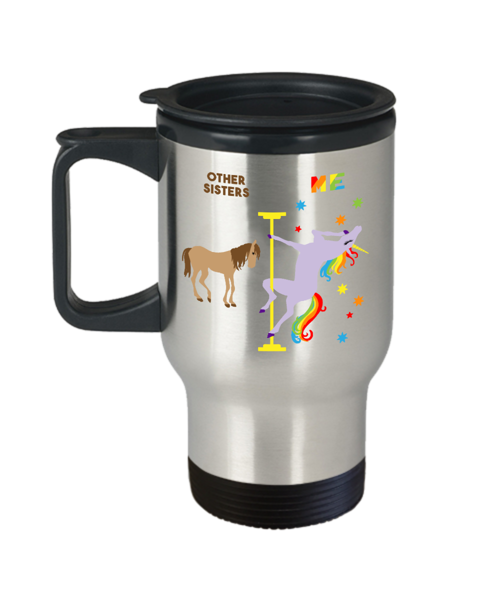 Funny Gift for Sister Mug Twin Sister Birthday Travel Coffee Cup Pole Dancing Unicorn 14oz