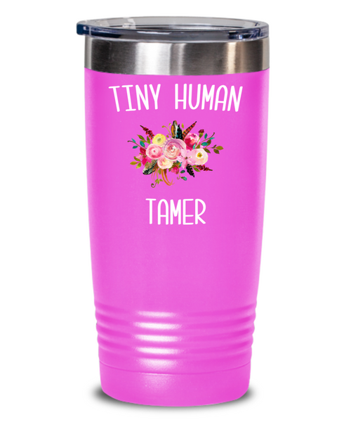 Tiny Human Tamer Tumbler Daycare Provider Quote Mug Funny Childcare Worker Travel Coffee Cup BPA Free