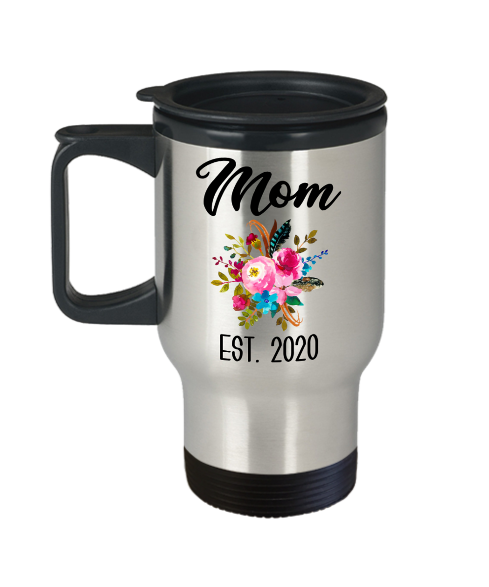 New Mom Mug Expecting Mommy to Be Gifts Baby Shower Gift Pregnancy Announcement Insulated Travel Coffee Cup Mom Est 2020