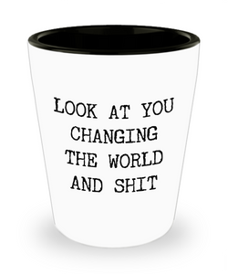 Gift for a Non-Profit Volunteer Environmentalist Activist Look at You Changing the World and Shit Funny Ceramic Shot Glass