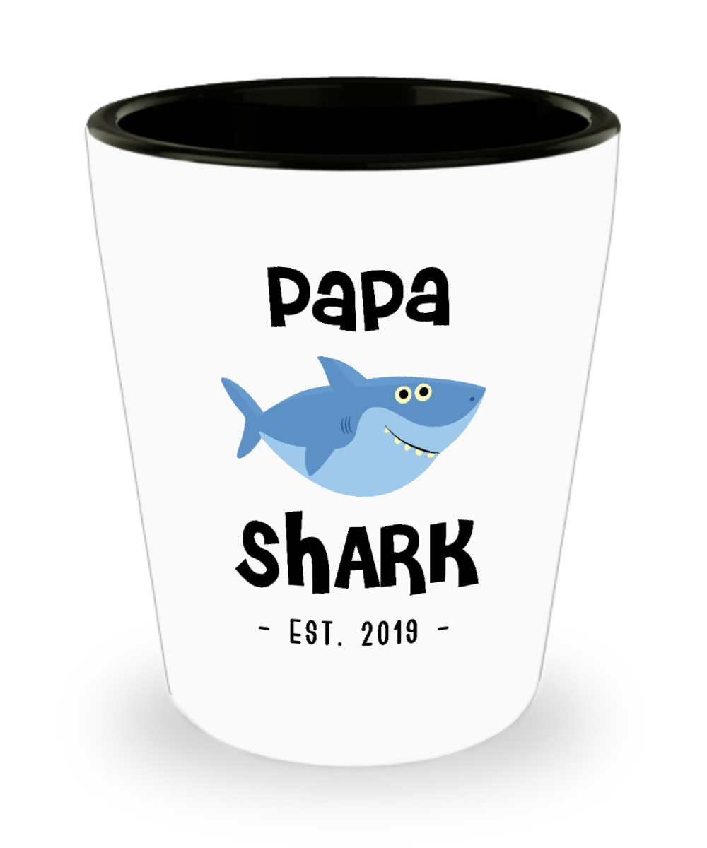 Papa Shark Mug New Papa Est 2019 Do Do Do Expecting Papas Pregnancy Reveal Announcement Gifts Ceramic Shot Glass