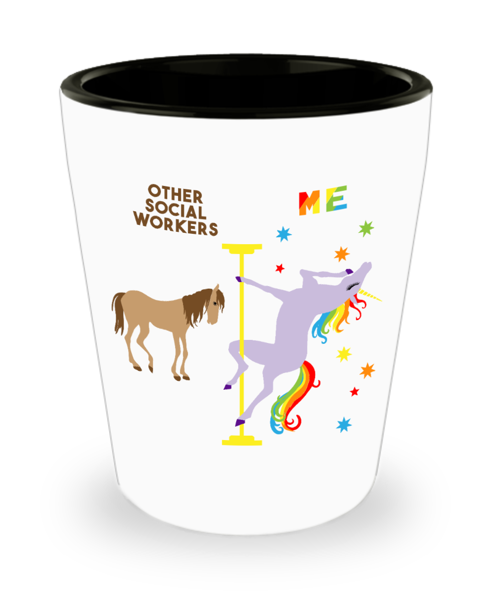 Social Worker Gift for Social Workers Funny Social Work Graduation Gift Pole Dancing Unicorn Ceramic Shot Glass