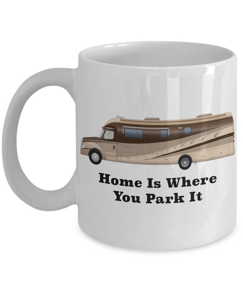 Home is Where You Park It RV Coffee Cup Happy Camper Mug Retirement Gift