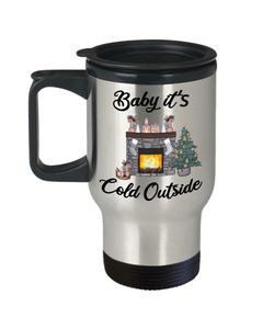 Baby it's Cold Outside Mug Christmas Gift Cute Winter Cozy Mugs with Sayings Gift for Grandma for Girlfriend Travel Coffee Cup Stocking Stuffer