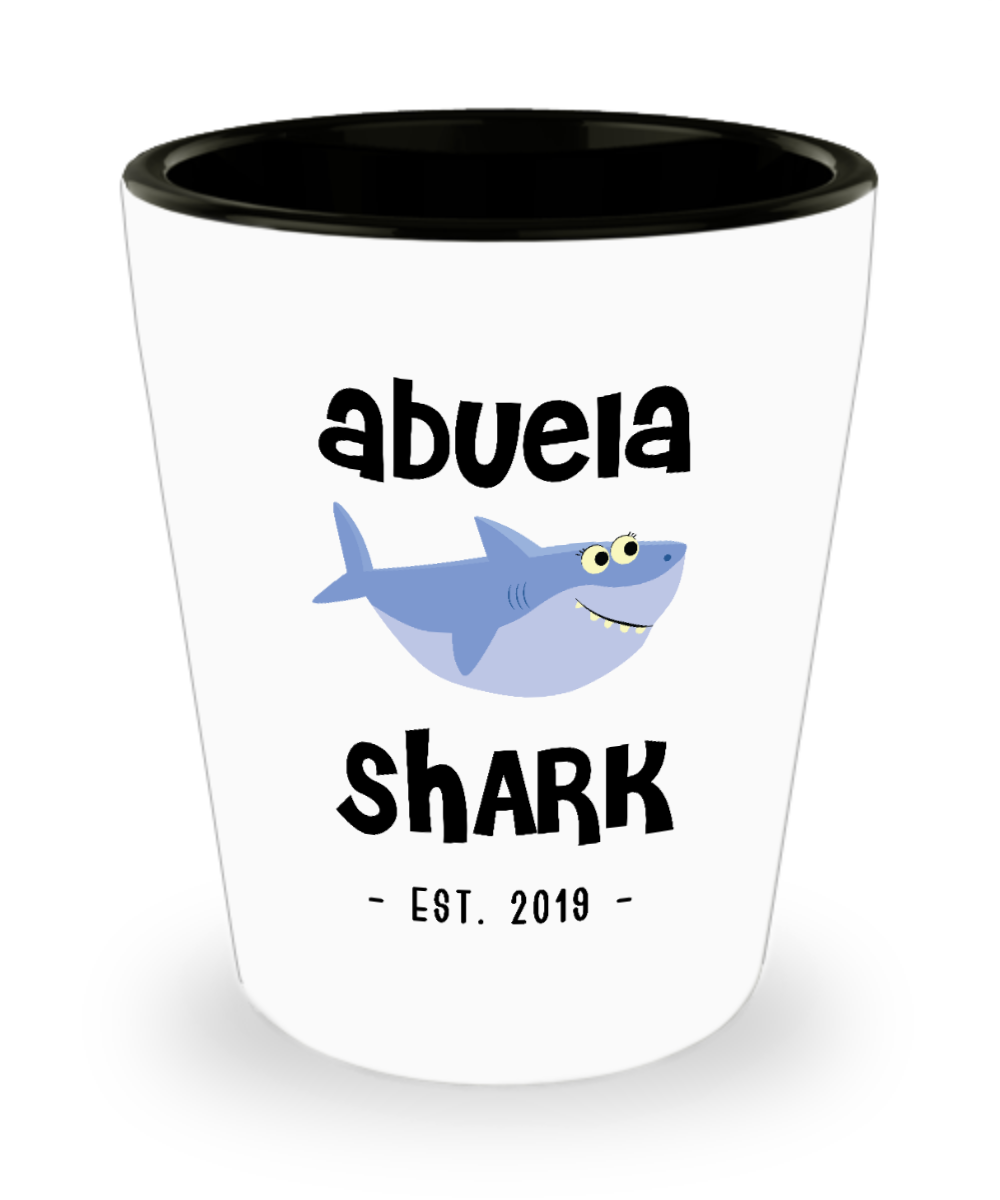 Abuela Shark Mug New Abuela Est 2019 Do Do Do Expecting Abuelas Pregnancy Reveal Announcement Gifts Ceramic Shot Glass