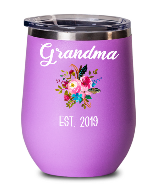 Grandma to be Gifts for New Grandma Est 2019 Wine Tumbler Pregnancy Announcement for Grandparents Reveal Insulated Hot Cold Travel Cup BPA Free