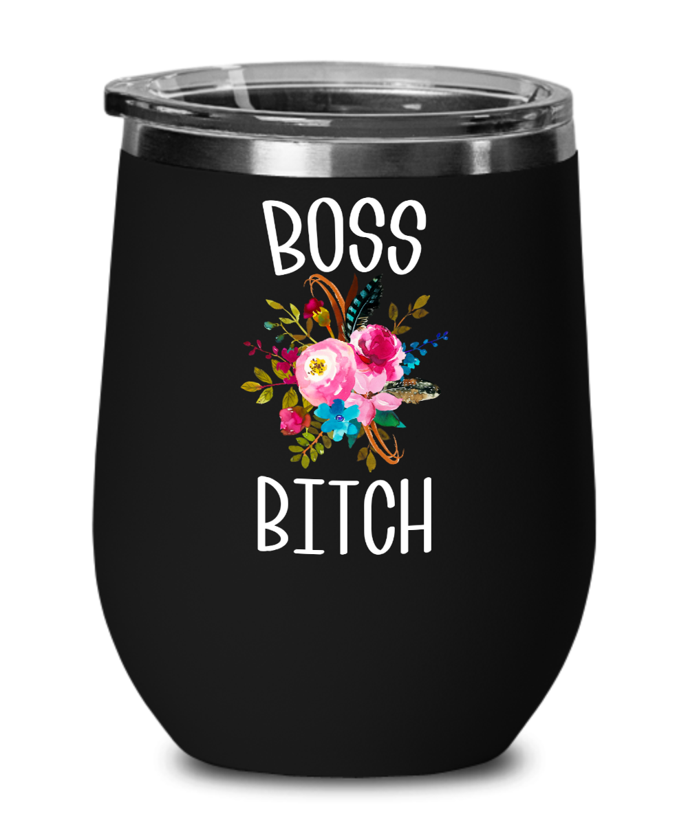 Boss Bitch Wine Tumbler Coffee Mug Like A Boss Lady Boss Babe Coworker Gifts Funny Insulated Travel Cup BPA Free