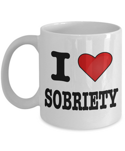 Sobriety Gifts - Addiction Recovery Gifts - I Love Sobriety Coffee Mug - Sobriety Gift Coffee Cup - Alcoholics Anonymous Coffee Mug Sponsor Gift Sponsee Gift Recovery Gift-Coffee Mug-HollyWood & Twine