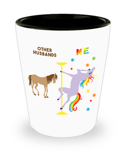 Funny Husband Gifts for Men Pole Dancing Unicorn Rainbow Ceramic Shot Glass for Husbands