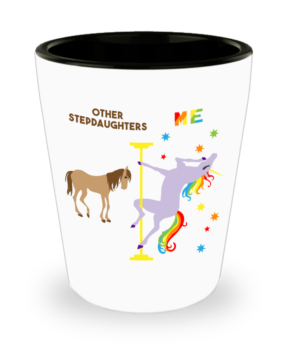 Funny Stepdaughter Gift Birthday Gifts for Stepdaughter Pole Dancing Unicorn Ceramic Shot Glass