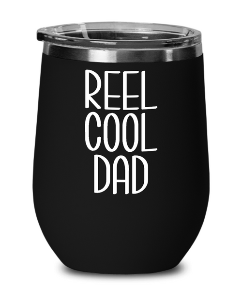 Dad Fishing Wine Tumbler Funny Fly Fisherman Gift Father's Day Insulated Travel Stemless Cup BPA Free