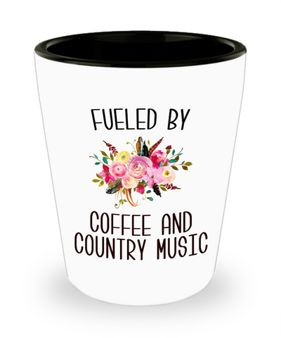 Fueled By Coffee and Country Music Cute Floral Country Western Music Fan Gift for Her Nashville Mug I Love Country Ceramic Shot Glass