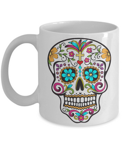 Day of the Dead Mug - Colorful Sugar Skull Mug - Mexican Folk Art - Dia De Los Muertos Coffee Cup-Cute But Rude