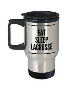 Lacrosse Coach Travel Mug Lacrosse Dad Mug - Eat Sleep Lacrosse Stainless Steel Insulated Travel Coffee Cup with Lid-HollyWood & Twine