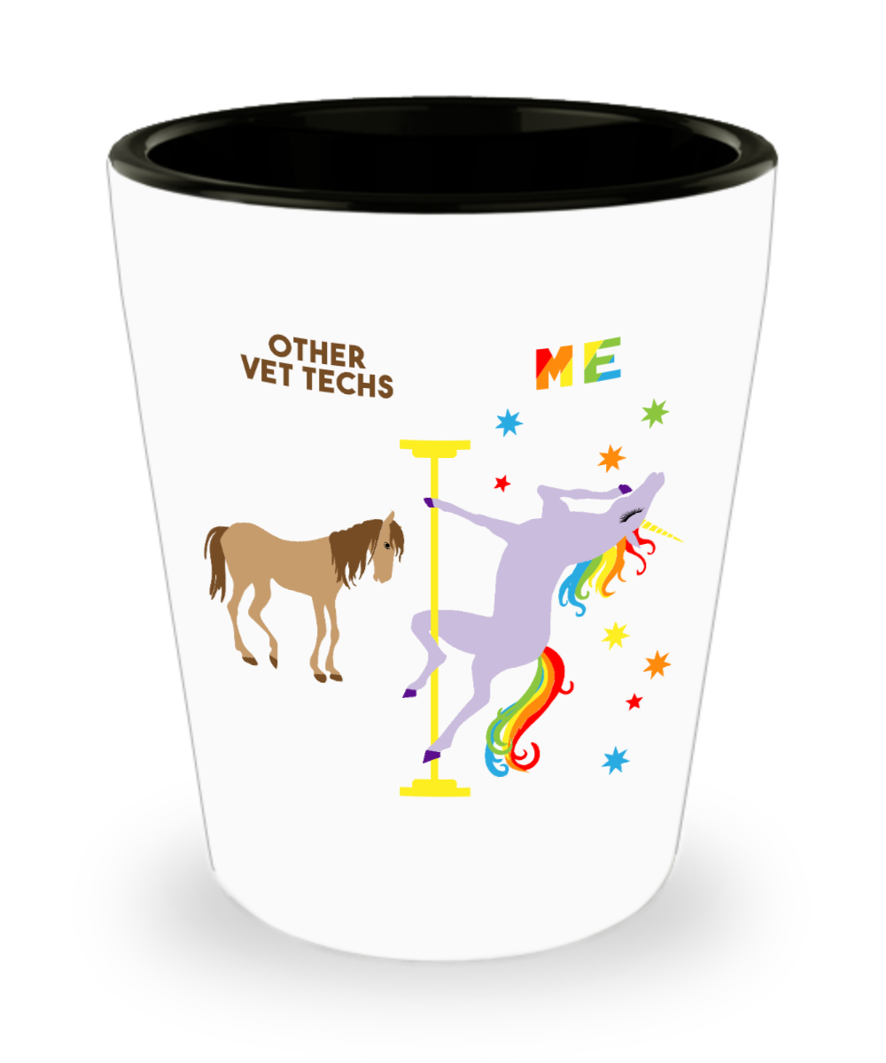 Veterinary Technician Gift for Vet Tech Funny Graduation Present Pole Dancing Unicorn Ceramic Shot Glass