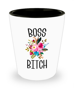Boss Bitch Like A Boss Lady Boss Babe Coworker Gifts Funny Ceramic Shot Glass for Women