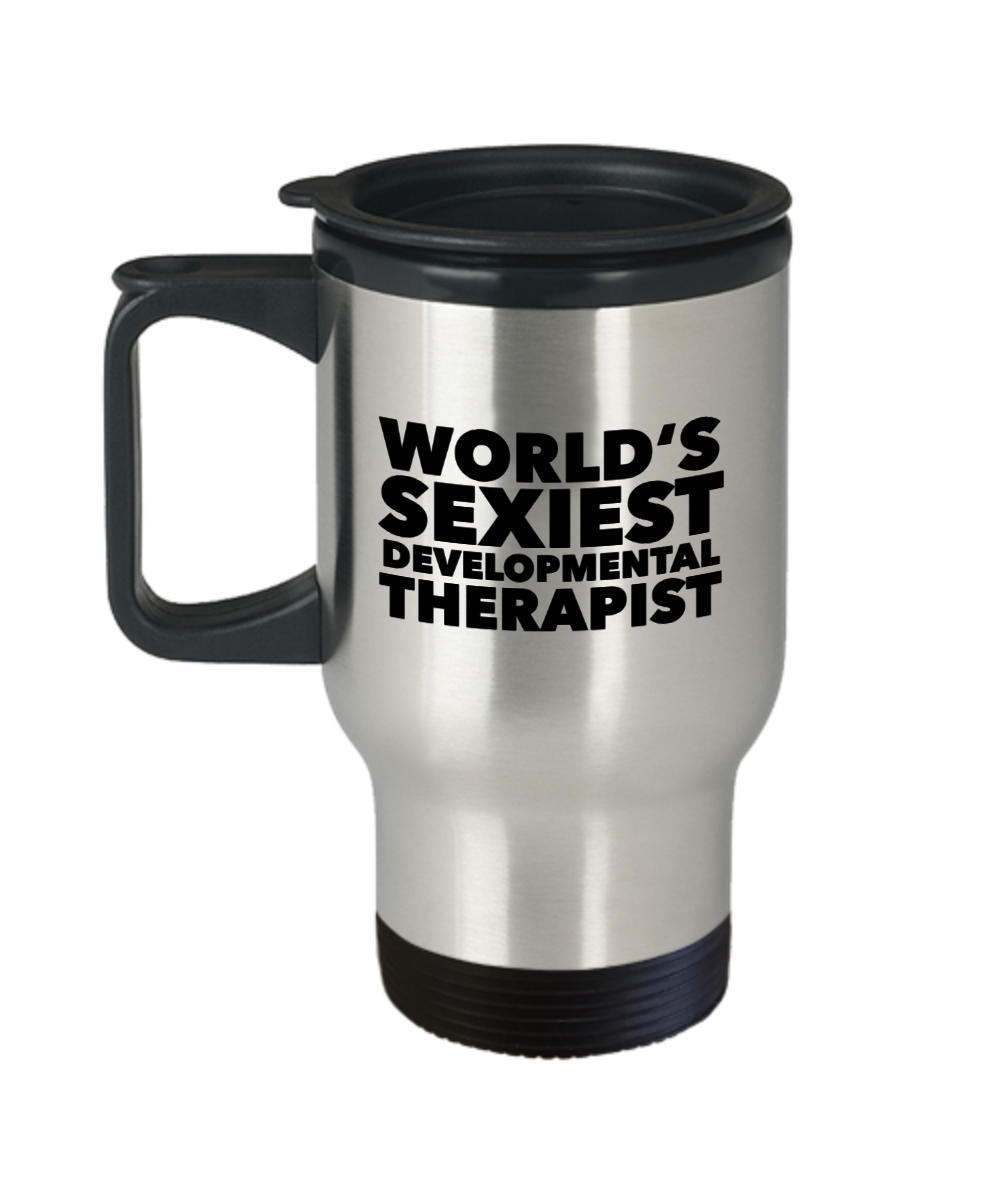 Developmental Therapy Gifts World's Sexiest Developmental Therapist Travel Mug Stainless Steel Insulated Coffee Cup