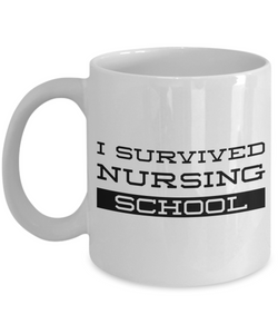 Nurse Graduation Coffee Mug Gifts - I Survived Nursing School Ceramic Coffee Cup-Cute But Rude