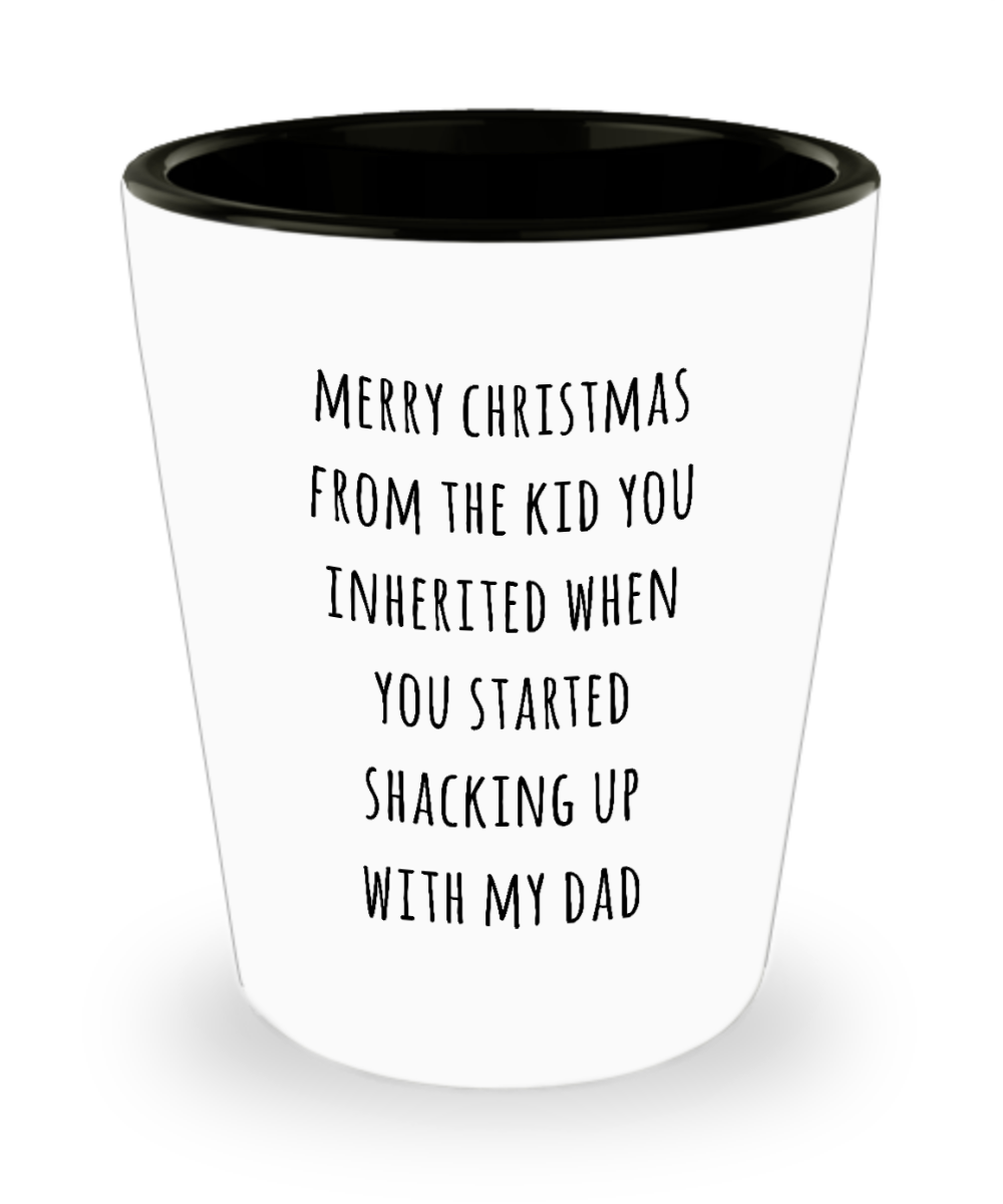 Stepmom Christmas Present Stepmother Gift for Stepmoms Funny Merry Christmas from the Kid You Inherited When You Started Shacking with My Dad Ceramic Shot Glass