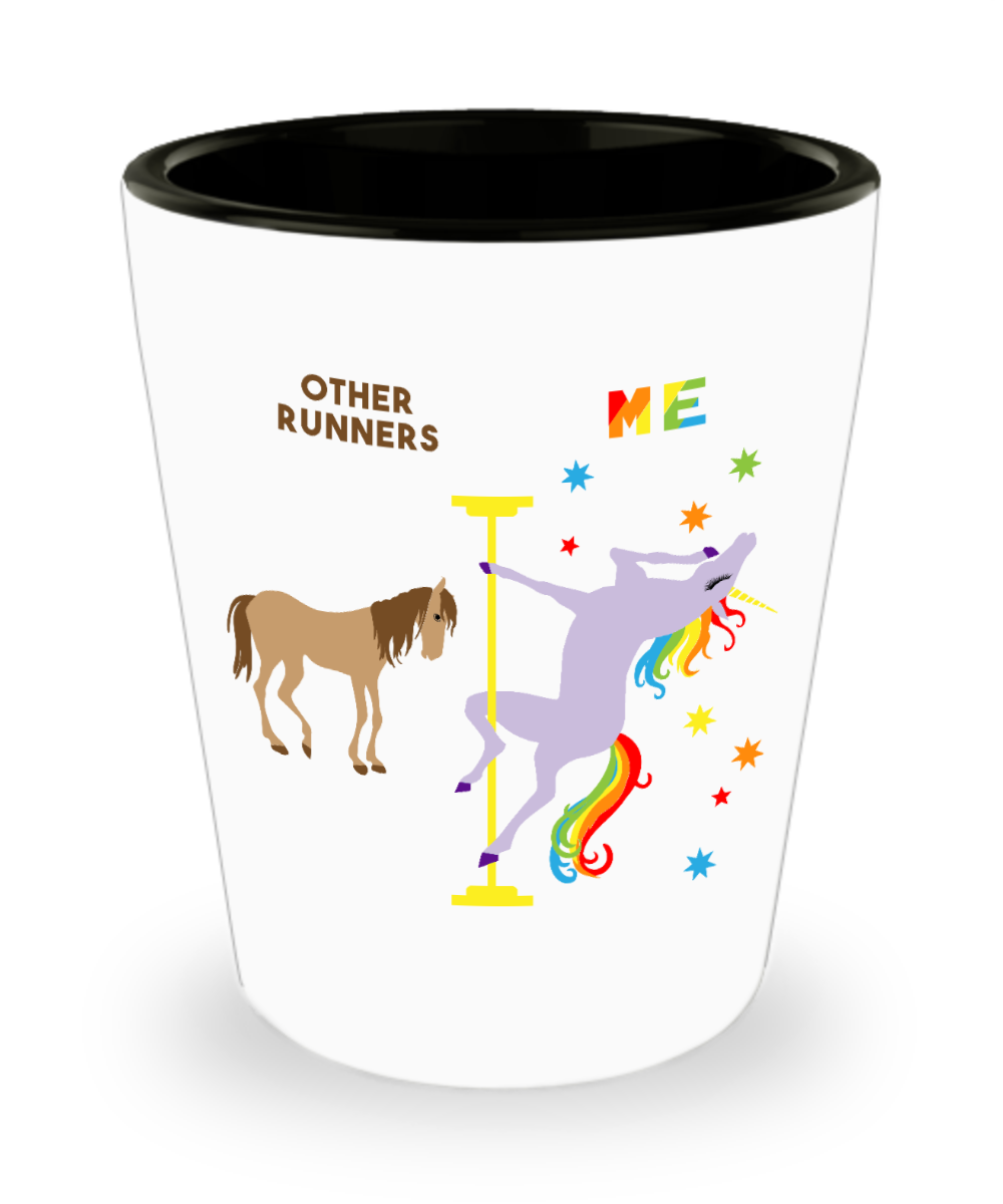 Runner Gift Funny Running Birthday Gifts Best Track Runner Ever Pole Dancing Unicorn Ceramic Shot Glass
