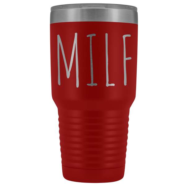 MILF Tumbler Funny Mom Gifts Mother's Day Present MILF Mug Gag Gift Idea Metal Insulated Hot Cold Travel Coffee Cup 30oz BPA Free
