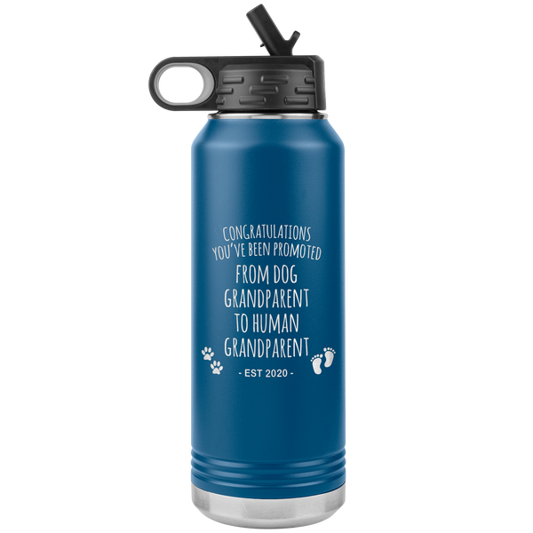 Promoted From Dog Grandparent To Human Grandparent Est 2020 Pregnancy Reveal Announcement First Time Grandparent Gift Insulated Water Bottle 32oz BPA Free