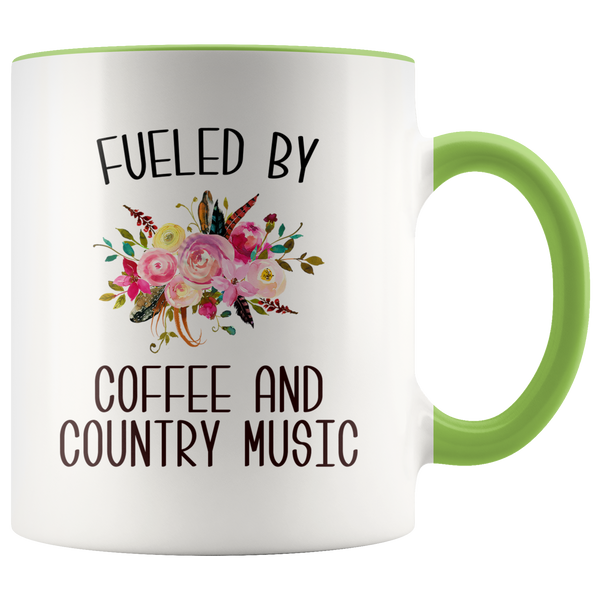 Fueled By Coffee and Country Music Mug Country Coffee Cup Cute Floral Country Western Music Fan Gift for Her Nashville Mug I Love Country Music