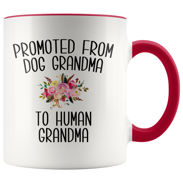 Promoted From Dog Grandma To Human Grandma Coffee Mug Grandma Pregnancy Announcement Cup Mother in Law Reveal Gift for Her
