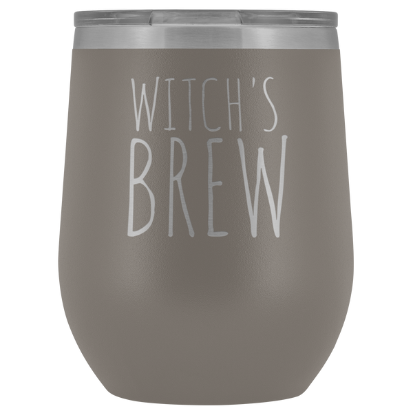 Witch's Brew Halloween Wine Tumbler Funny Fall Gifts for Friends Stemless Insulated Hot Cold BPA Free 12oz Travel Sippy Cup