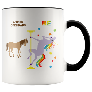 Funny Stepdad Gifts for Father's Day Pole Dancing Unicorn Step Dad Mug Rainbow Coffee Cup 11oz