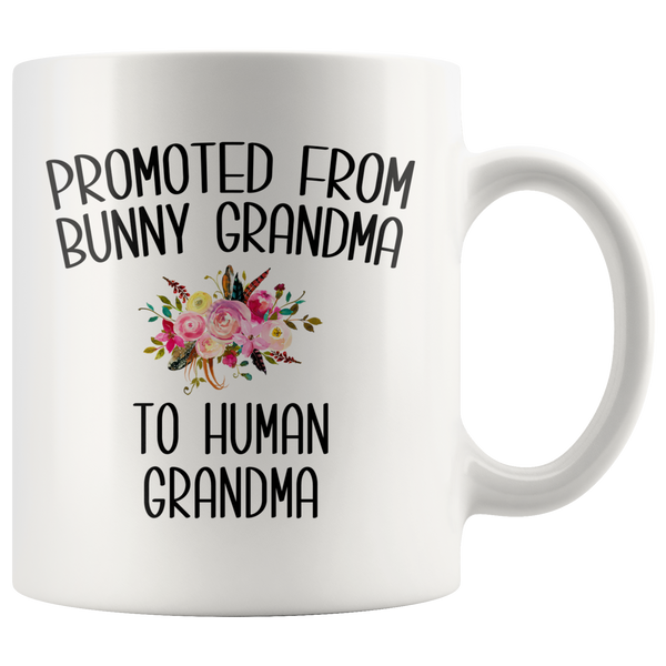 Promoted From Bunny Grandma To Human Grandma Mug Rabbit Grandma Pregnancy Announcement Mother in Law Reveal Gift for Her