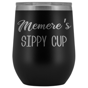 Memere's Sippy Cup Memere Wine Tumbler Gifts Funny Stemless Stainless Steel Insulated Tumblers Hot Cold BPA Free 12oz Travel Cup