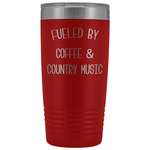 Fueled By Coffee & Country Music Tumbler Insulated Travel Coffee Cup Cute Country Western Fan Gift for Men Women Nashville Mug BPA Free 20oz