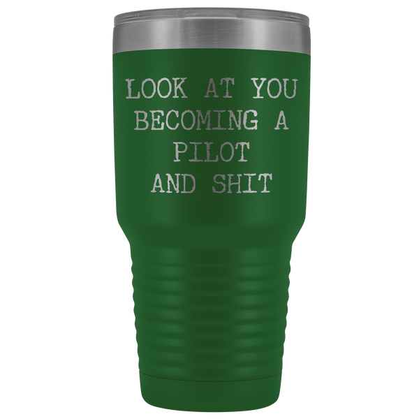 Pilot's License School Gifts Look at You Becoming a Pilot Tumbler Metal Mug Insulated Hot Cold Travel Coffee Cup 30oz BPA Free