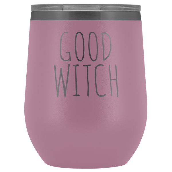 Good Witch Halloween Wine Tumbler Funny Fall Gifts for Friends and Witches Stemless Insulated Hot Cold BPA Free 12oz Travel Sippy Cup