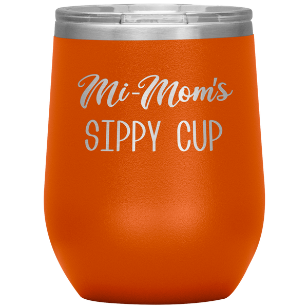 Mi-Mom's Sippy Cup Wine Tumbler Gifts Funny Stemless Insulated Wine Tumblers Hot Cold BPA Free 12oz Travel Cup