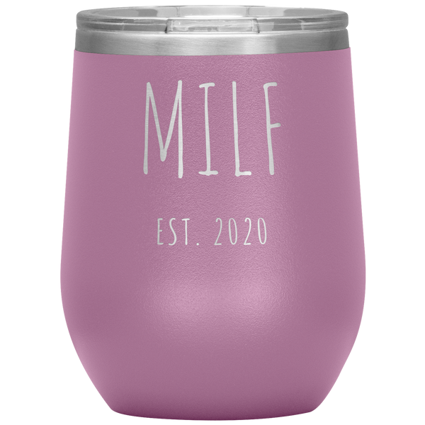MILF Est 2020 Wine Tumbler Expecting Mom Gifts Push Present Funny Stemless Stainless Steel Insulated Tumblers BPA Free 12oz Travel Cup